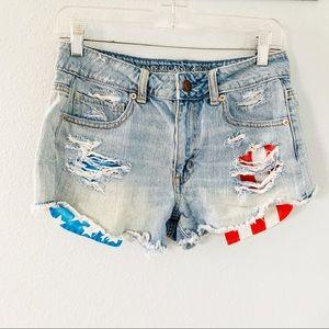 American Eagle Distressed Hi Rise Jean Shorts Sz 6
